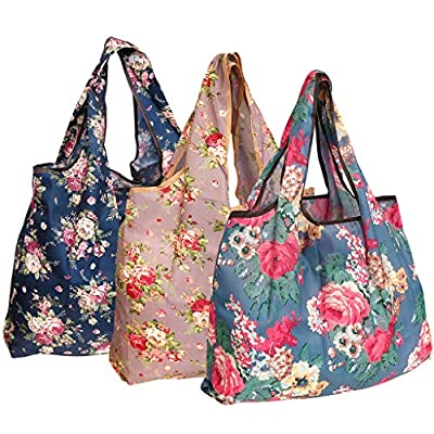 allydrew Large Foldable Tote Nylon Reusable Grocery Bag, 3 Pack, Classic Floral