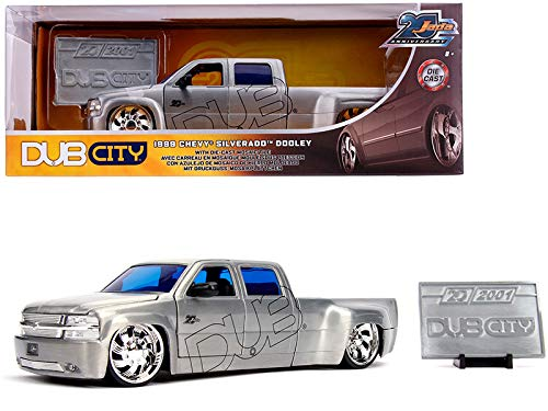 StarSun Depot New 1999 Chevrolet Silverado Dooley Pickup Truck Raw Metal Dub City Jada 20th Anniversary 1/24 Diecast Model Car by Jada