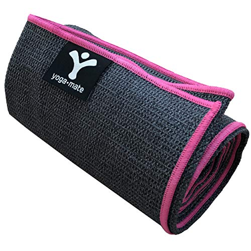 Sticky Grip Yoga Towel - Best Non-Slip Towel for Hot Yoga - Anti-Slipping, Sweat Absorbent Microfiber Towels with Silicone Grip Bottom for Standard & XL Sized Mats (Grey w/ Pink Trim)