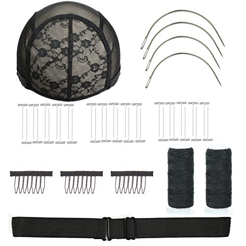 Wig Making Value Kit Durable Adjustable Lace Wig Caps Wig Adjustable Elastic Bands Making Value Kit Hair Comb Styling Hair Clips Lace Wig Caps Wig Thread Curved Needle T-Pin Needle (XL, Black)