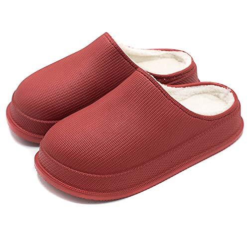PerGrate 2020 Fashion Winter Men Women Waterproof Non-Slip Home Slippers Plush Lining Warm Thick