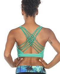 small Icyzone Women's Sports Bras – Sportswear, Padded Workouts, Yoga Bras (S, Florida Keys)