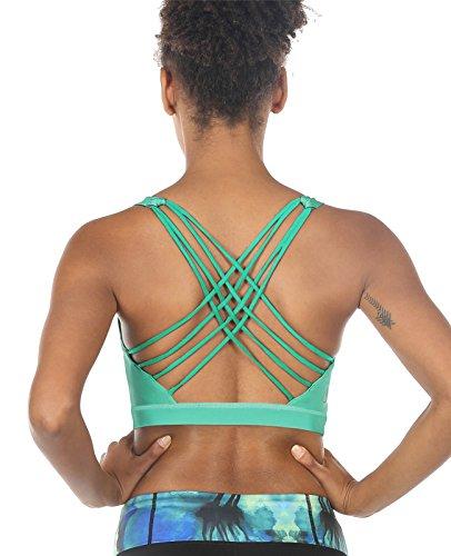 icyzone Damen Sport-BH mit Gepolstert Ohne Bügel Yoga Bra Atmungsaktiv Sport Bustier für Gym Fitness (Florida Keys, M)