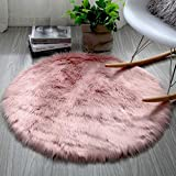 INMOZATA Soft Fluffy Faux Fur Area Rug Round Sheepskin Rugs for Bedroom Kids Room Decor Cute Circle Floor Carpets for Living Room,3ft Diameter,Pink