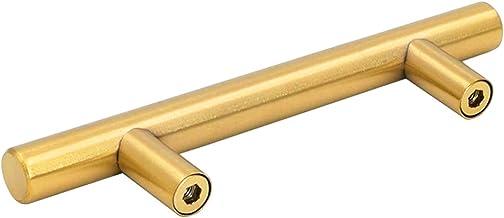 Goldenwarm 3in Hole Centres Brushed Brass Cabinet Drawer T Bar Kitchen Pull Cupboard Door Handle Gold Wardrobe Hardware Kn...