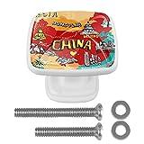 Pomos Y Tiradores Infantiles Mapa De China Tiradores Para Muebles Impresión Pomo Para Muebles Cristal Tirador De Armario Perilla De La Puerta 4 Piezas 3x2.1x2 cm