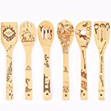 Rice Paddle Bamboo Utensils Set of 6Pcs, Bamboo Cooking Utensils Bamboo Spatula, Spoon Paddle Wooden Kitchen Rice Spatula Household Kitchen Gadget Set Works for Rice, High Heat Sauteing ect,