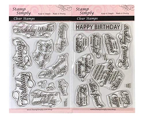 Stamp Simply Clear Stamps Happy Birthday Sentiments and Blessings Christian Religious (2-Pack) 4x6 Inch Sheet - 20 Pieces