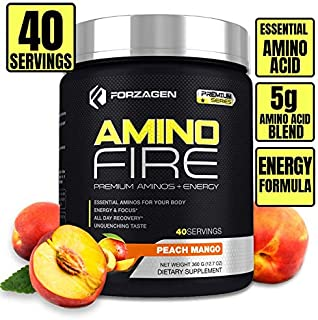 Forzagen Amino Energy + BCAA Amino Acids - Energy | Focus | Endurance | Reaction | 40 Servings of Amazing Flavors | Amino Fire (Peach Mango)