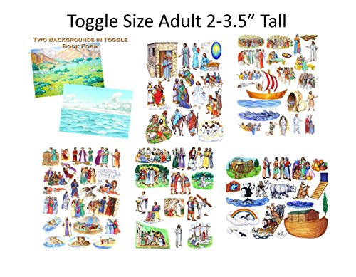 Toggle Size Story & Life of Jesus 13 Bible Stories Set Felt Figures & Flannel Board + Noah's Ark- Precut- Lesson Guide Activity Pages