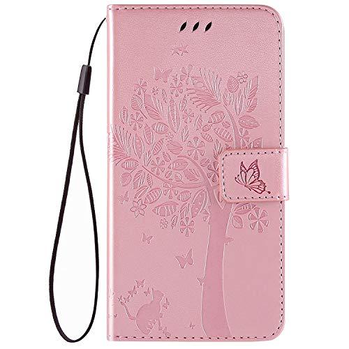 QPOLLY Kompatibel für Nokia 3.1 Plus Hülle Leder Tasche Flip Case Katze und Baum Muster Handytasche Magnet Schutzhülle im Brieftasche-Stil mit Kartenfächer Standfunktion,Roségold