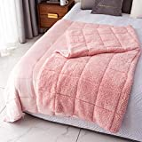 Mr.Sandman Sherpa Weighted Blanket Adults 15lbs for Queen Size Bed, Comfy Fleece Throw Blanket with Premium Ceramic Beads - Dual-Sided Pink - 60'x80'