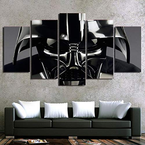 Swarouskll Halloween Decals 5 Panels Sensation War Darth Vader Helmet Poster Oil Painting Wall Art Print Plate Decor Picture Artwork Canvas Painting WWJYB0291 Sofa Background