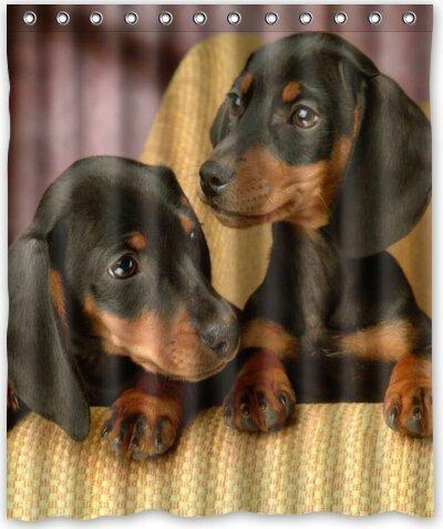 CHATAE 152,4x 182,9cm Zoll Cute Love Baby Dackel Hund Dusche Vorhang New Polyester-Wasserdicht-Bad Vorhang (Dusche Ringe im lieferumfang enthalten)