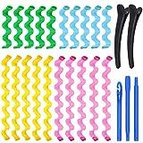 Lot de 20 Bigoudis Magiques, KECRULV Spirale Styling Hair Rollers Kit Wave Styles Sans Chaleur Bigoudi, 1 Crochet Coiffant et 2 Pince à Cheveux pour Toutes les Longueurs de Cheveux, 45CM & 25CM