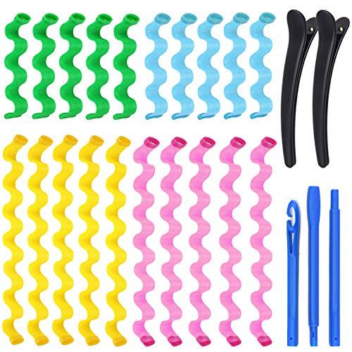 Rizador de Pelo Mágico, KECRULV 20 Piezas Rizadores de Pelo en Espiral Mágicos Sin Calor con 3 Ganchos de Peinado y 2 Pinzas de Pelo, para Mujer Niña para Cabello Largo(45cm e 25cm)