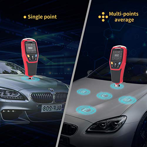 """Digital Coating Thickness Gauge Meter with 2"""" LCD Display Backlight/Rotatable Color Display/ 3 Color Warning Light for Automotive Paint Thickness Measurement, Data Store Analysis"""