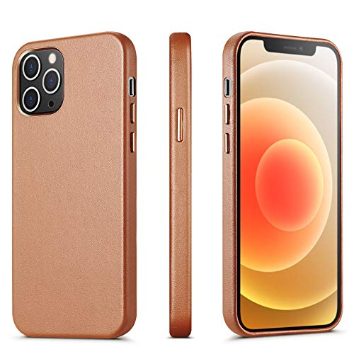 ILOFRI Compatible with iPhone 12 Mini case, Premium Real Leather Case Support Wireless Charging,Slim Non-Slip Grip Scratch Resistant Full Body Protective Phone Case for iPhone, 5.4 inch - Brown