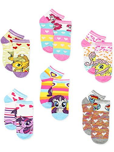 My Little Pony Girls 6 pack Socks (Shoe: 7-10 (Sock: 4-6), Blue Hearts Stripes)