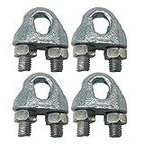 (Paquete de 4 piezas) M10 12 mm Ø Metal galvanizado DIN 741 Eslingas Abrazadera de alambre Clip de cable Engarzado Perno en U Sujetador de sillín Cuerda de alambre (4)