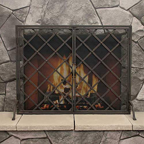 LQQ Gold Brass Wrought Iron Fireplace Screen with Doors, Single Panel Mesh Decor Fire Spark Guard Gate, Wood Burning Hearth Accessories