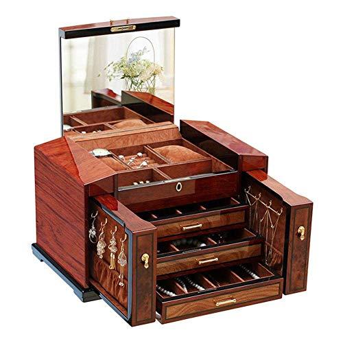 Stijlvolle juwelendoos, grote capaciteit, natuurlijke mahonie, massief houten juwelendoos, organizer, met grote spiegelschuifladen, horlogebox, sieradendoos, ZH