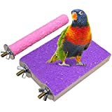 LIMIO Bird Perch 2PCS Hamster Toys Parrot Stand Rough Sand Wood Perch Bird Cage Accessories for Parakeets Supplies Budgie Natural Wood Platform (Color Random)