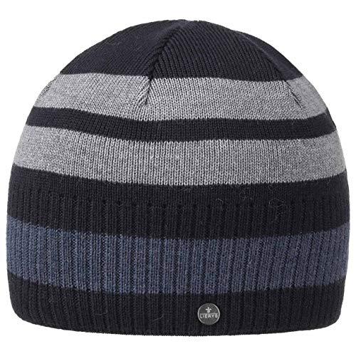 Lierys Bonnet Fine Merino Stripes Homme - Made in Germany pour l'hiver en Tricot avec Doublure Automne-Hiver - Taille Unique Bleu