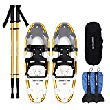 Carryown 4-in-1 Light Weight Snow Shoes Set for Adults Men Women Youth Kids Boys Girls, Aluminum Alloy Snowshoes with Trekking Poles and Waterproof Leg Gaiters + Carrying Tote Bag, 14' /21'/ 25'/ 30'