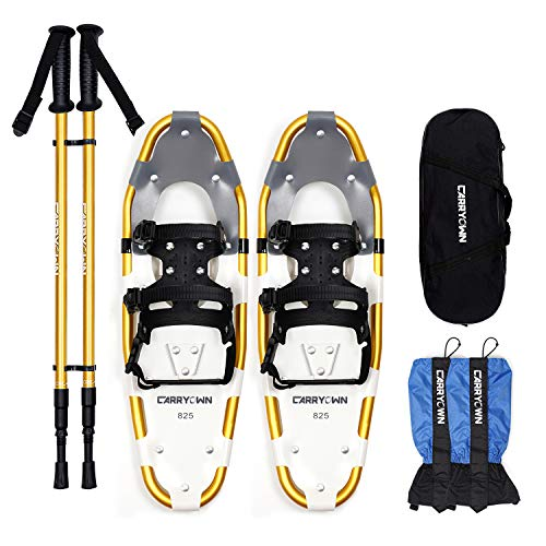 Carryown 4-in-1 Xtreme Lightweight Terrain Snowshoes for Adults Men Women Kids, Light Weight Aluminum Alloy Terrain Snow Shoes with Trekking Poles and...