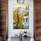 モダン キャンバス塗装 新しい中国風流水運勢入口装飾絵画インクジェットキャンバス絵画 50*75cm