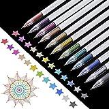 Pop Metallic Gel Pen, Fine Point Metallic Liquid Gel Pen for Adult Coloring Books Drawing, Scrapbooking, Card Making, Assorted Color Inks,12-Pack