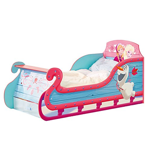 Kleinkinderbett für Mädchen im Schlittendesign von Disney Die Eiskönigin, mit Stauraum