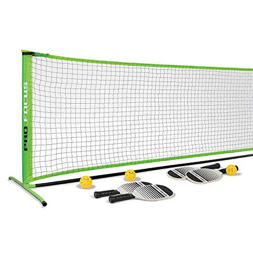 Pro Focus Pickleball Net Set - Official Size Net and 4-Player Accessories; Outdoor Fun for Kids, Teens and Adults