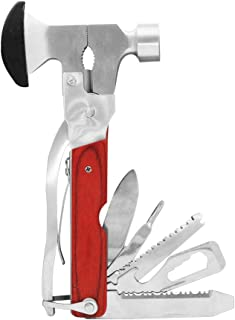 Bukm Portable Hammer Tool, Stainless Steel Multitools axes and hatchet,Needle Nose Plier,Pocket Screwdriver,Claw Hammer Knife,Bottle Opener,Survival Camping Knife,Hand Saw,Car Safety Hammer