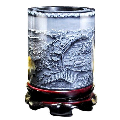 LIZOAN YDGJ AHJJ Top-Grade Crystal Resin Material Embossed Ornaments Drum Shape Rotation Pen Holder