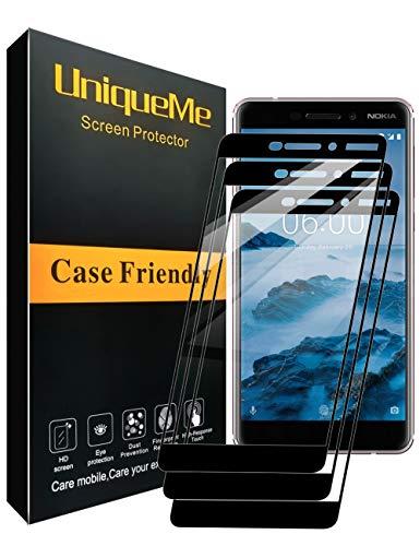 UniqueMe [3 Stück] Nokia 6.1 Schutzfolie, Nokia 6 2018 Panzerglas, Full Cover Gehärtetem Glas Hartglas Bildschirmschutzfolie mit Lebenslange Ersatzgarantie - Schwarz