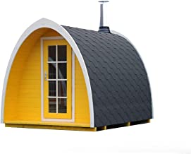 BZBCabins.com Barrel Sauna Kit Igloo 28, 4-6 Person Outdoor Sauna with Harvia M3 Wood Burning Heater