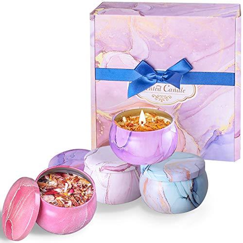 TENSUN Duftkerzen Geschenkset 4er Aroma Kerzen mit Blütenblatt Duftkerze Set 100% Natürliches Sojawachs Kerze Rose, Lavendel, Jasmin, Vanille für Geburtstag, Jahrestag, Weihnachten