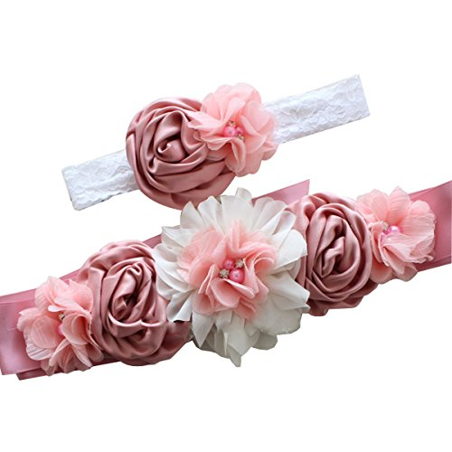 LKXHarleya Moda Para Mujer De Seda De SatéN Sash CinturóN De Flores CinturóN Para La Boda Nupcial Retro Rosa Perla Maternidad Sash Diadema
