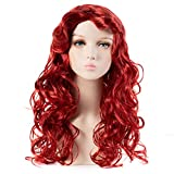 HairWiz Girl's Long Curly Red Synthetic Wavy Hair Mermaid Cosplay Wigs (Kids Size)