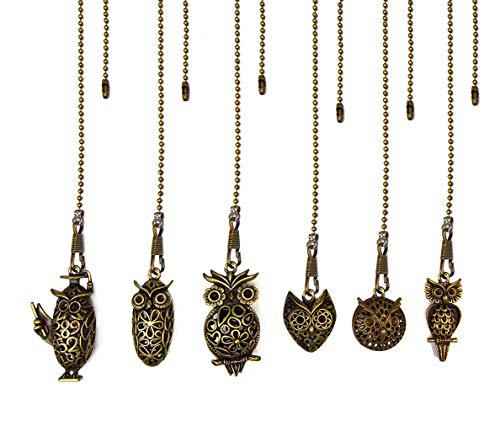 Aoyoho 6pcs Vintage Owl Hollow Out Charm Pendant Ceiling Fan Danglers Fan Pulls Chain Extender with Ball Chain Connector (Owl Style)