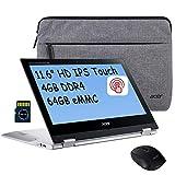 2021 Acer Spin 2 in 1 Premium ChromebookLaptop I 11.6' HD IPS Touchscreen I Octa-Core MediaTek MT8183C I 4GB RAM 64GB eMMC I Webcam USB-C Wireless Mouse&Sleeve Chrome OS + Delca 32GB Micro SD Card
