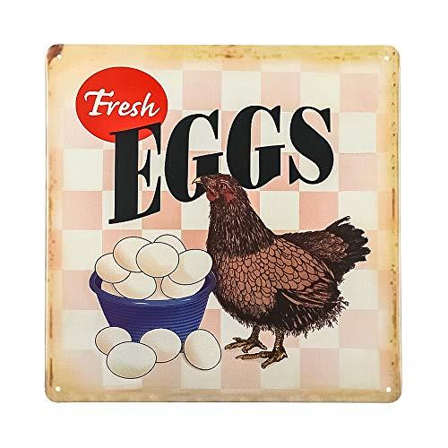 Dojune-Poster Revolution Fresh Eggs Hen Chicken - Targa in metallo invecchiato