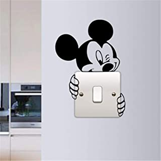Yasrt Removable Vinyl Decal Art Mural Home Decor Wall Stickers Cute Mickey Switch Decal Funny Micky Lights Switch Sticker Kids Room Decor Mickey Hugs Switch Home Switch Decals