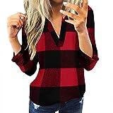 YAnGSale Top Plaid Shirt Women Casual Blouse Fall Sweater Cotton Pullover Slim Jacket Tops V-Neck Sweatshirt Tunics (Red, XXXL)