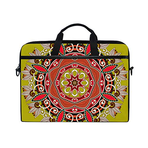 EZIOLY Circle Ornamental Round Lace Laptop Shoulder Messenger Bag Case Sleeve for 13 Inch to 14 inch Laptop