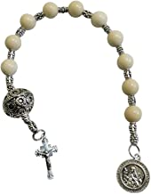 Gifts by Lulee, LLC Saint Catherine of Sweden Patron of Miscarriages Natural Grain Stone Bead Chaplet with Silver Plated Findings Large Filigreed Silver Pater Noster and Blessed Prayer Card