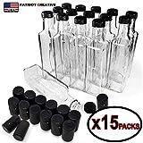 Quadra Bottles 8.5 Oz 15 Sets of Premium Commercial Grade Glass Square Bottle Leak Proof Airtight Plastic Screw Cap Lids Shrink Capsule - European Marasca 8.5 oz Bottle (Black 15Sets 8.5oz 250ml)