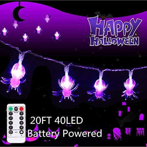 20FT 40LED luci leggiadramente della Stringa Batteria, Camera Fata luci del Giardino Illuminazione Impermeabile con Telecomando per la Decorazione di Halloween Home Office Garden Party